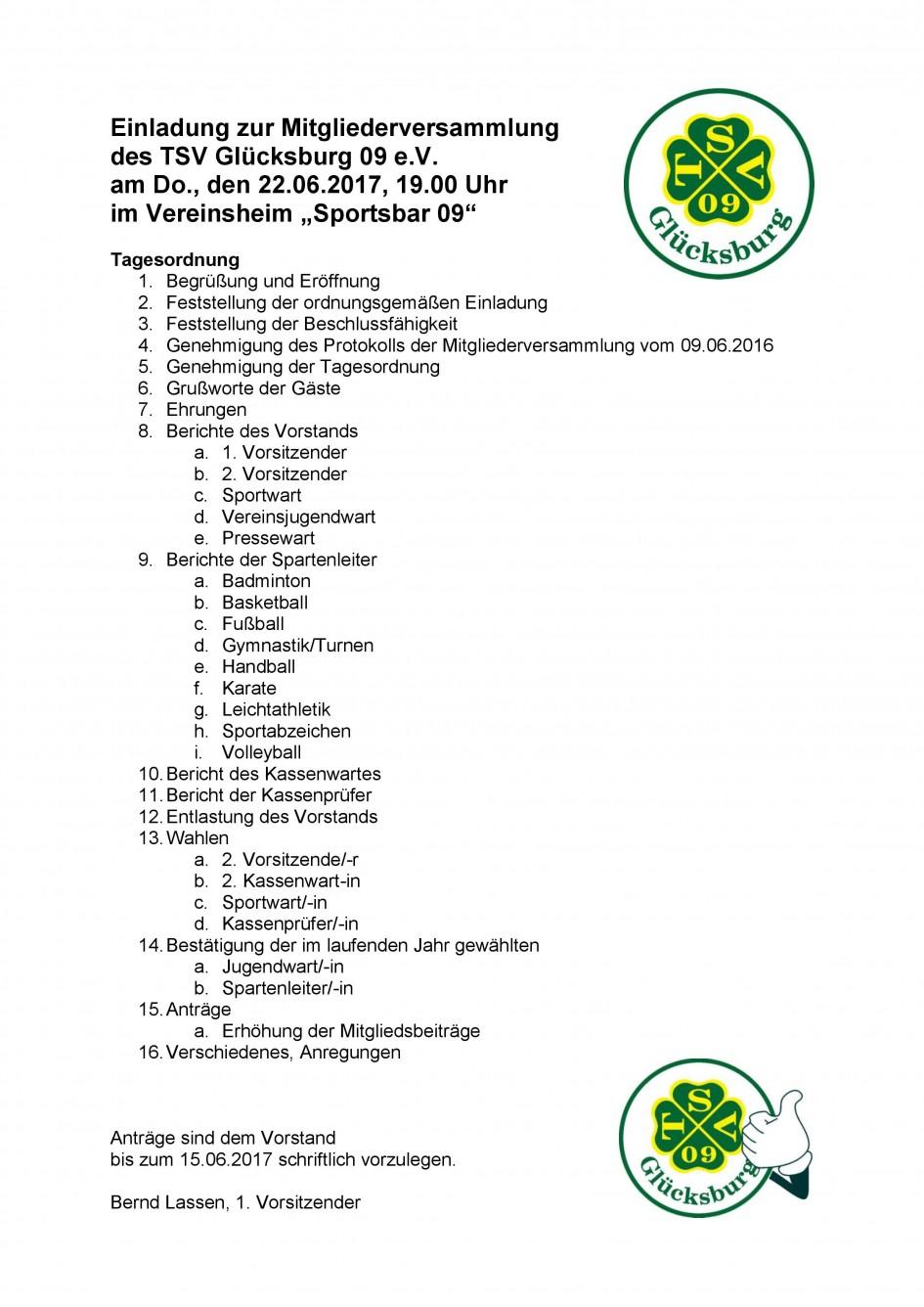 einladung mitgliederversammlung 2017 | tsv glücksburg 09 e.v., Einladung
